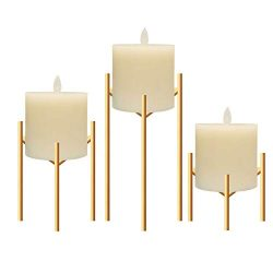 Only-us Metal Pillar Candle Holders Set of 3 Gold Candlesticks for Fireplace/Living Room/Dinning ...