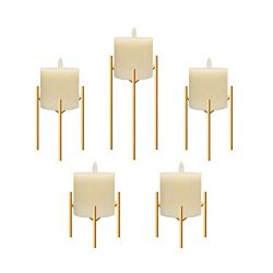 Only-us Iron Pillar Candle Holders Set of 5 Gold Candlesticks for Fireplace/Table/Living Room/Di ...
