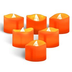 Beichi 24 Pack Orange LED Tea Lights, Halloween Realistic Battery Operated Flameless Tealight Ca ...