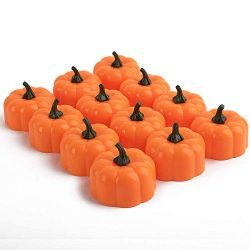 Homemory 24 Pack Small Pumpkin Tea Lights, Battery Operated LED Tealight Candles, Flilckering Am ...