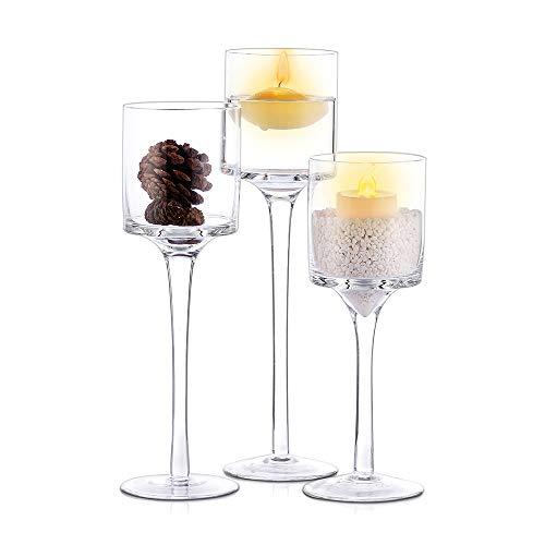 Nuptio 3 Pcs Candlestick & Tealight Candle Holders, Tall Elegant Glass Stylish Design, Ideal ...