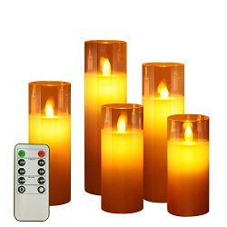 ACROSS Flickering Flameless Candles Battery Operated Pillar Real Wax Moving Wick LED Glass Candl ...