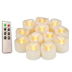 Flameless Candles, Realistic Flickering Votive Candle Tea Light Battery Operated, 200 Hours of N ...