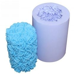 Allforhome(TM) Valentine's Day Wedding Rose Cylinder Flower Silicone Candle DIY Mold Handm ...