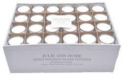 White Unscented Glass Votive Candle – Set of 48 | Bulk Pack for Weddings, Bridal Showers o ...