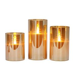 Gold Glass Battery Operated Flameless Led Candles with Timer, Warm White Flickering Light, Batte ...
