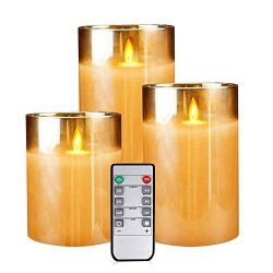 Flameless Led Candles Flickering, Yinuo Candle Real Wax Fake Wick Moving Flame Faux Wickless Pil ...