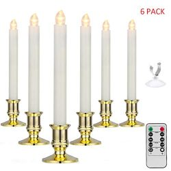 YUNLIGHTS Window Candles 6 Pack Battery Powered Taper Candles with Remote Control and Timer LED  ...