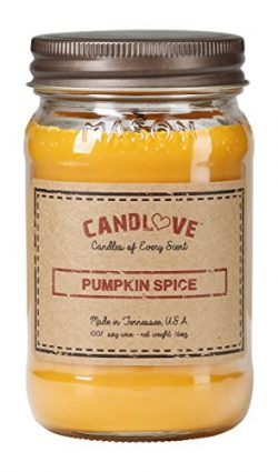 "CANDLOVE ""Pumpkin Spice Scented 26oz Mason Jar Candle 100% Soy Made in The USA"