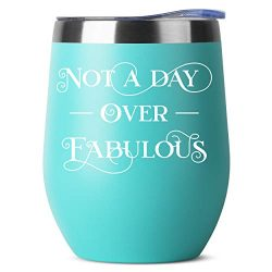 Not A Day Over Fabulous | 12 oz Mint Insulated Stainless Steel Tumbler w/Lid | Birthday Gift Ide ...