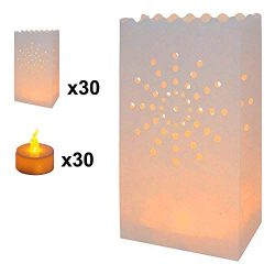 AceList 30-Set Luminary Bag with Candles Flameless Tea Lights, Fire Resistant Paper Decoration f ...