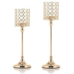 VINCIGANT Gold Tea Light Candle Holders Set of 2 for Mother's Day Coffee Table Decorative  ...