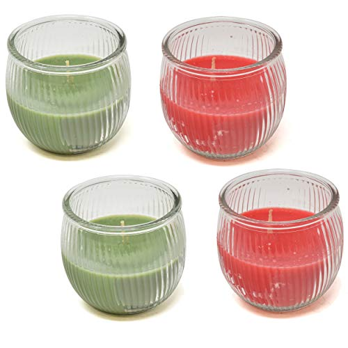 Gift Boutique Christmas Scented Candles Gift Set Set of 4 Green Christmas Tree and Red Cinnamon  ...