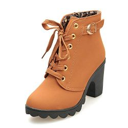 Aniywn Ankle Boots,Women Winter Chunky High Heels Boots Fall Combat Lace Up Booties Platform Sho ...