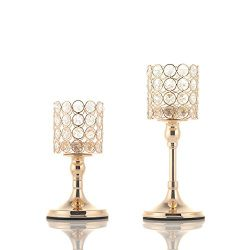 VINCIGANT 2 PCS Crystal Candle Holders for Mothers Day Home Modern Decor/Wedding Table Centerpie ...