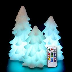 Eldnacele Tree Shaped Christmas Flameless Flilckering Candles Color Changing with 18-Key Remote  ...