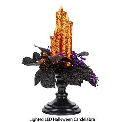 KI Store Halloween Candelabra with LED Flameless Candles Holder Glittered with Flickering Lights ...