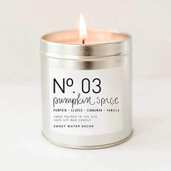 Pumpkin Spice Natural Soy Wax Candle Silver Tin Scented PSL Pie Cinnamon Cloves Vanilla Fall Aut ...