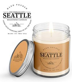 Seattle Mason Jar Candle 7.5 oz Glass, Made in The USA, Soy Blend, 100% Cotton Wick, Brown Kraft ...
