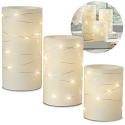 Laura Ashley 3-Piece LED Candle Set with Daily Timer, Flameless Candles, Real Wax, Battery Power ...