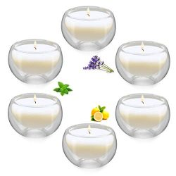 Winbattle Soy Aromatherapy Candle,Transparent Glass Votive Scented Candle, 6 Pack Gift Candle Se ...