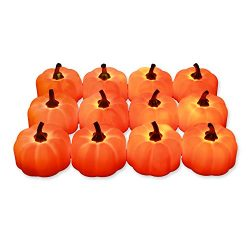 Hautton 12 Pack Flameless Candles, Orange Pumpkin Candle, Warm White Flickering Light LED Tea Li ...