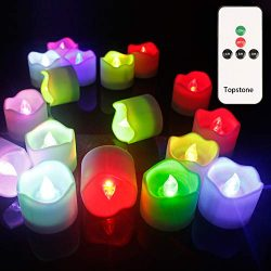 Topstone Remote Control Tea Lights,Battery Powered Votive Candles with Timer,Color Changing Flic ...