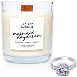 Mermaid Day Dream Candle with Ring Inside (Surprise Jewelry Valued at $15 to $5,000) Ring Size 7