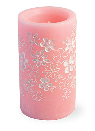 Boston International Flameless Wax LED Candle with Flower Accents, 3.25 x 5.75-Inches, Pink