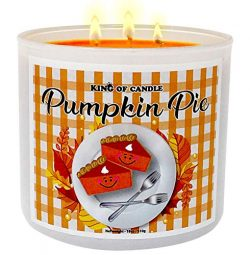 Pumpkin Pie Candle – Highly Scented Large 18 Ounce 3-Wick Pumpkin Soy Candle – Tripl ...