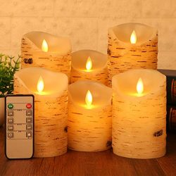 Flameless LED Candles Flickering Light Pillar Real Birch bark Wax with Timer and 10-key Remote f ...