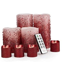 Furora LIGHTING LED Flameless Candles with Remote Control, Set of 8, Real Wax Battery Operated P ...