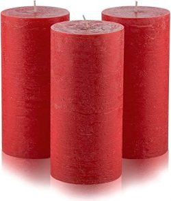 Melt Candle Company Set of 3 Burgundy Pillar Candles 3″ x 6″ Dark Red Unscented for  ...