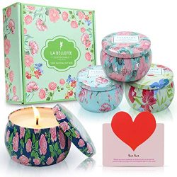 LA BELLEFÉE Scented Candles Gift Set, 4.4oz Natural Soy Wax Travel Tin Candle for Aromatherapy S ...
