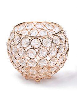 Manvi Gold Crystal Small Round Candlestick, Anniversary Celebration Candlestick Wedding Party Ta ...