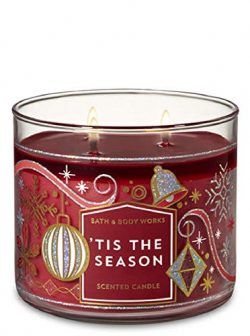 Bath and Body Works Tis The Season For 2018 Scented 3 Wick Candle 14.5 oz (Red Apple, Cinnamon,  ...