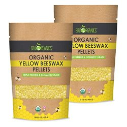 Sky Organics USDA Organic Yellow Beeswax Pellets (2lb) Pure Bees Wax No Toxic Pesticides or Chem ...