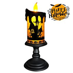 Eldnacele Halloween Snow Globe Candles Lighted Lamp, Battery Operated Spinning Water Glittering  ...