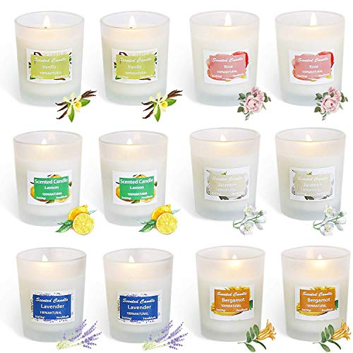 YIHANG Scented Candles Soy Candle, Anxiety Reducer Lemon, Lavender, Rose ,Jasmine,Vanilla,Ber ...