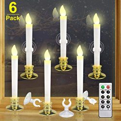 Kithouse 6 Set Christmas Window Candles Lights with Timer Battery Operated Electric LED Taper Ca ...
