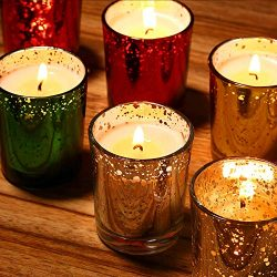 Mercury Glass Votive scented Candle Gift Set (Speckled Gold), 100% Natural Soy Wax 2.5 Oz Per Cu ...