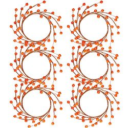 WILLBOND 6 Packs Christmas Candle Rings Wreaths Mini Fall Berry Twig Wreath Candle Wreath Farmho ...