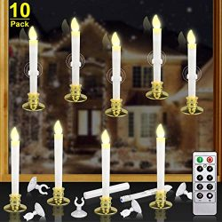 Kithouse 10 Set Christmas Window Candles Lights with Timer Battery Operated Electric LED Taper C ...