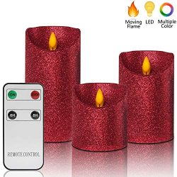 Christmas Flameless Candles Battery Operated with Remote, Real Moving Flame Decorative Electric  ...
