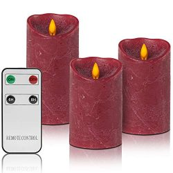 Christmas Red Flameless Candles Flickering Realistic, Remote LED Battery Operated Real Wax Pilla ...