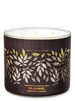 Bath & Body Works FLANNEL 3-Wick Candle Wood Edition 14.5 oz / 411 g