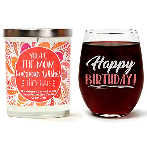 Birthday Gift Set | Cute Stemless 15 oz. Wine Glass | Luxury Scented 10 oz. Soy Candle | Huckleb ...