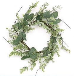 Select Christmas ICY Pine, Boxwood and Eucalyptus Candle Ring Wreath 12″