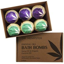 Bath Bombs Essential-Oil Vegan Gift-Set – Organic Moisturizing Coconut and Hemp Oils with  ...
