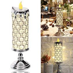 Manvi Flameless Candle Light Crystal Candlestick Flashing Flame Effect and LED Fairy Lights, Bat ...
